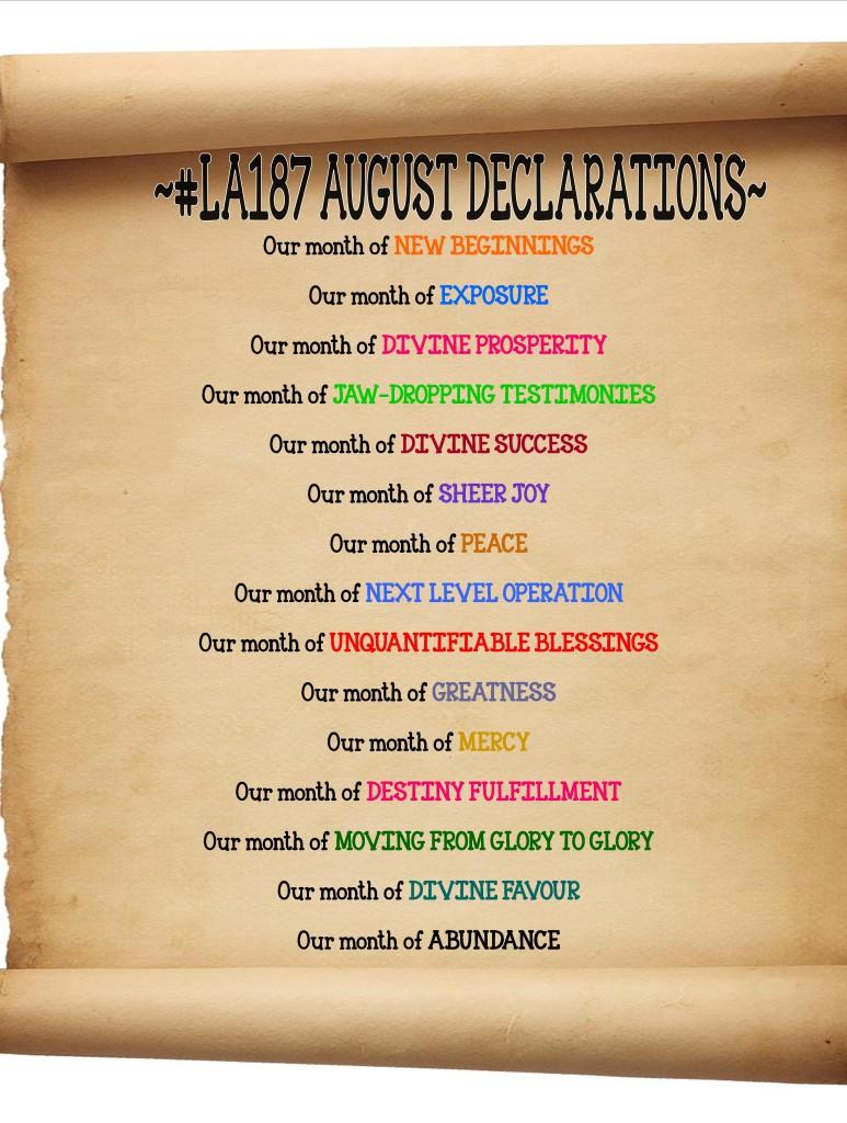 AUGUST DECLARATIONS